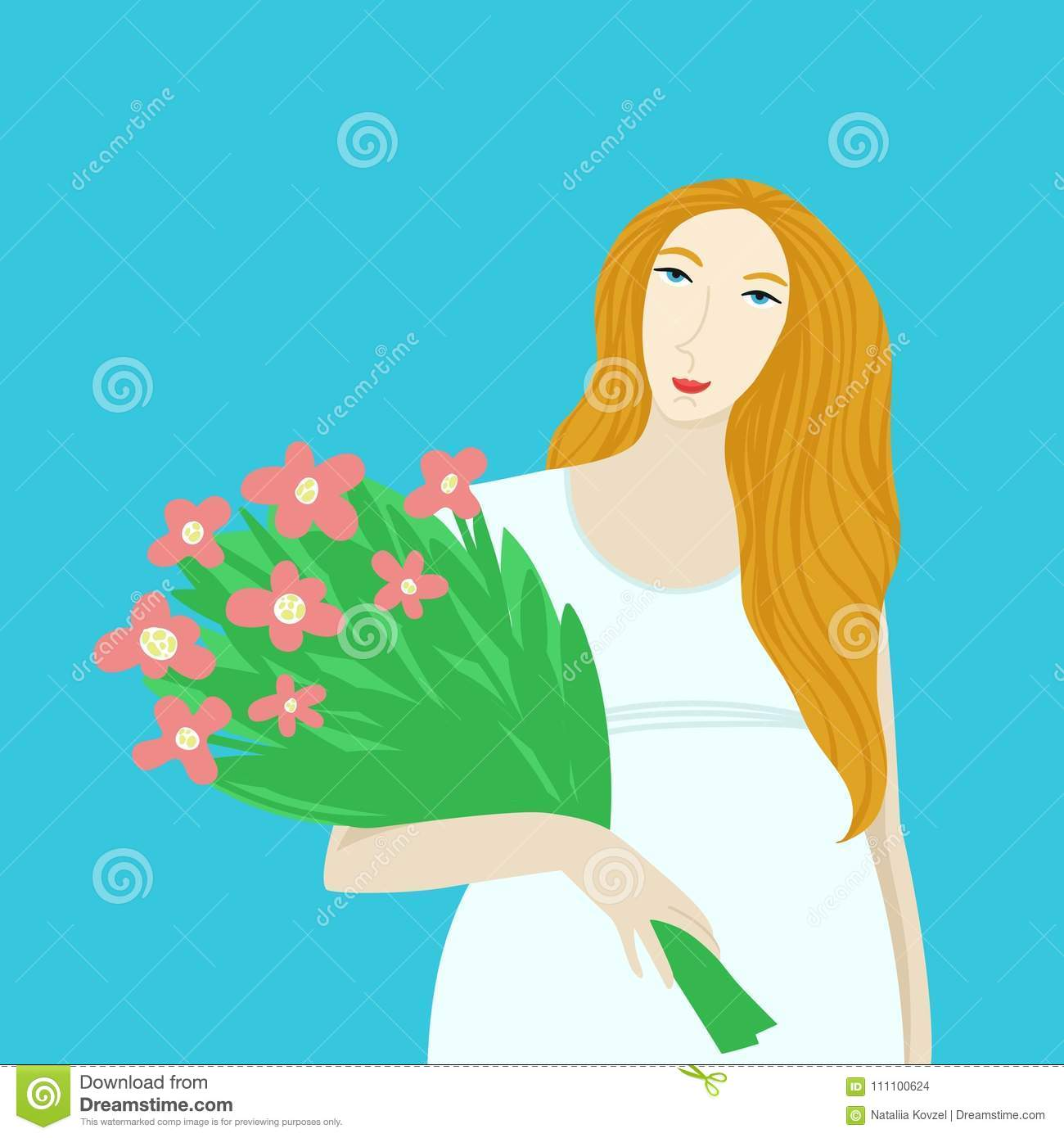 Pregnant Girl With With Bouquet Of Flowers Spring Cartoon