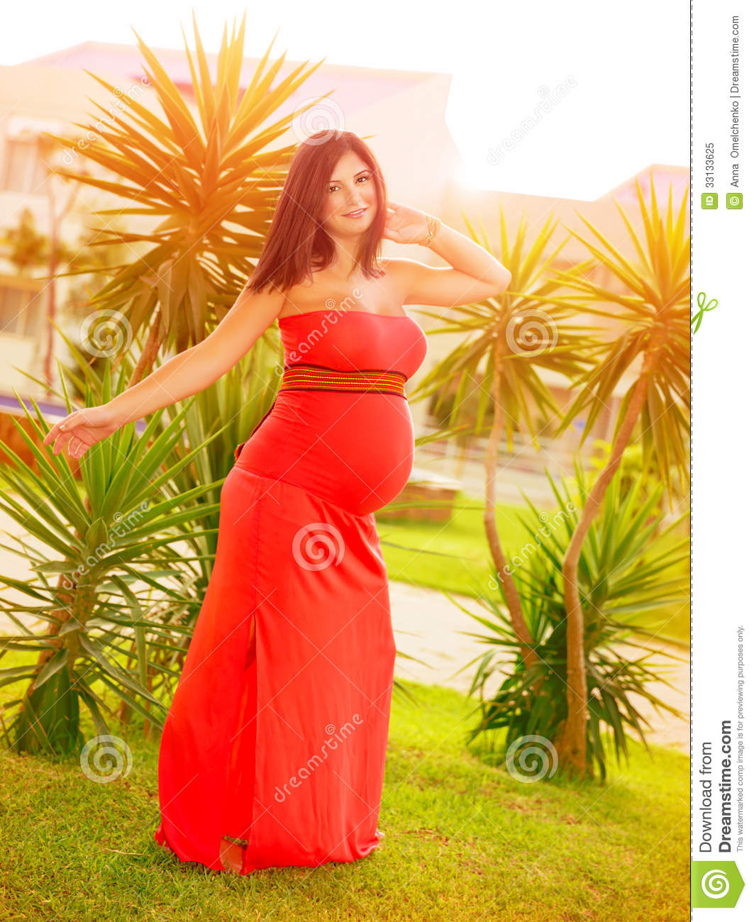 Epectant Girl Dancing Outdoors Beautiful Pregnant Model Posing On