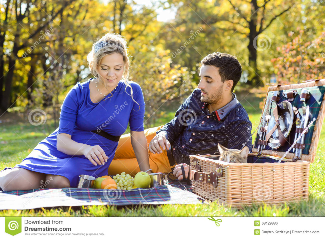Pregnant happy and smiling couple on picnic with cat