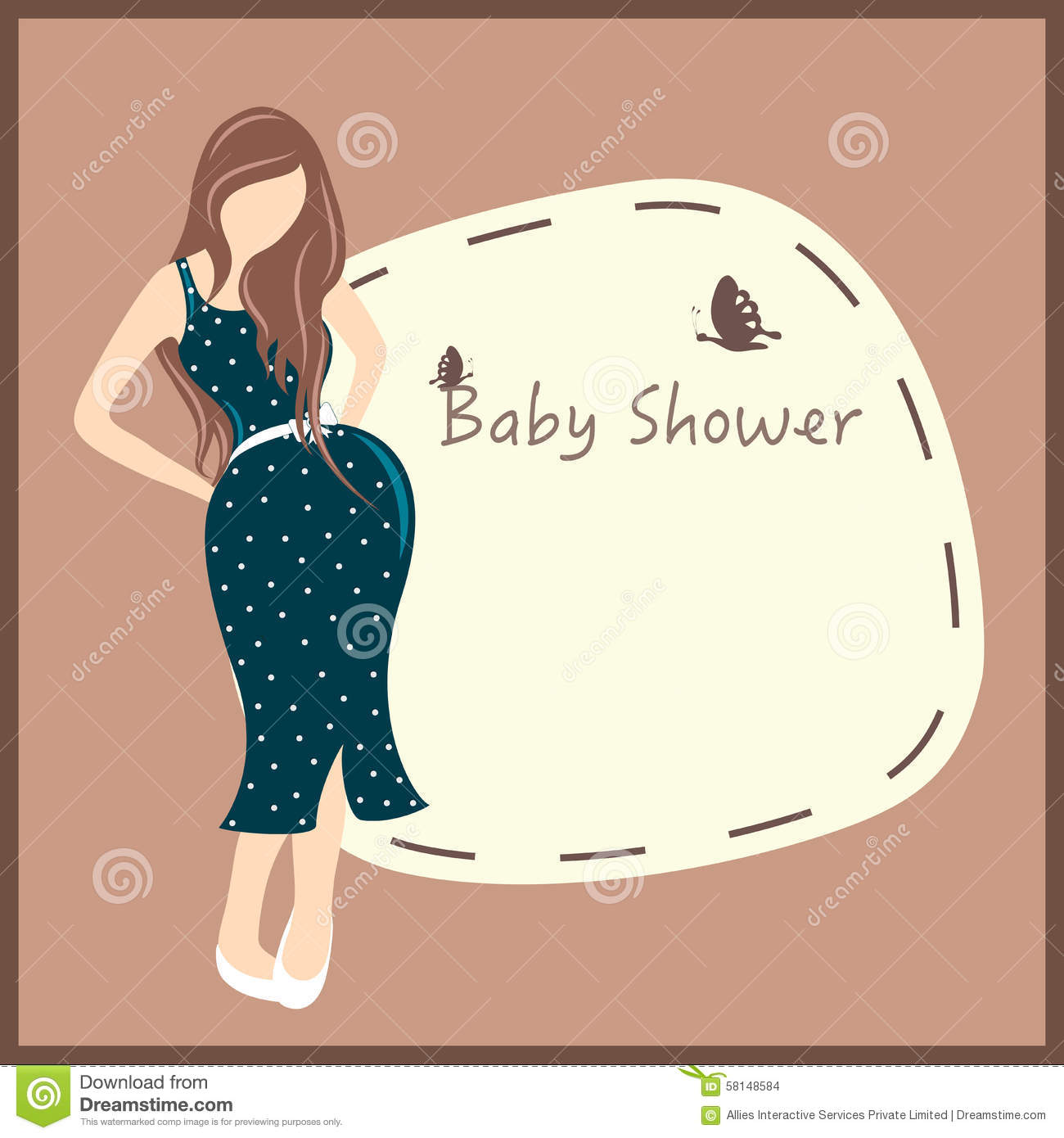 pregnant lady for baby shower card design