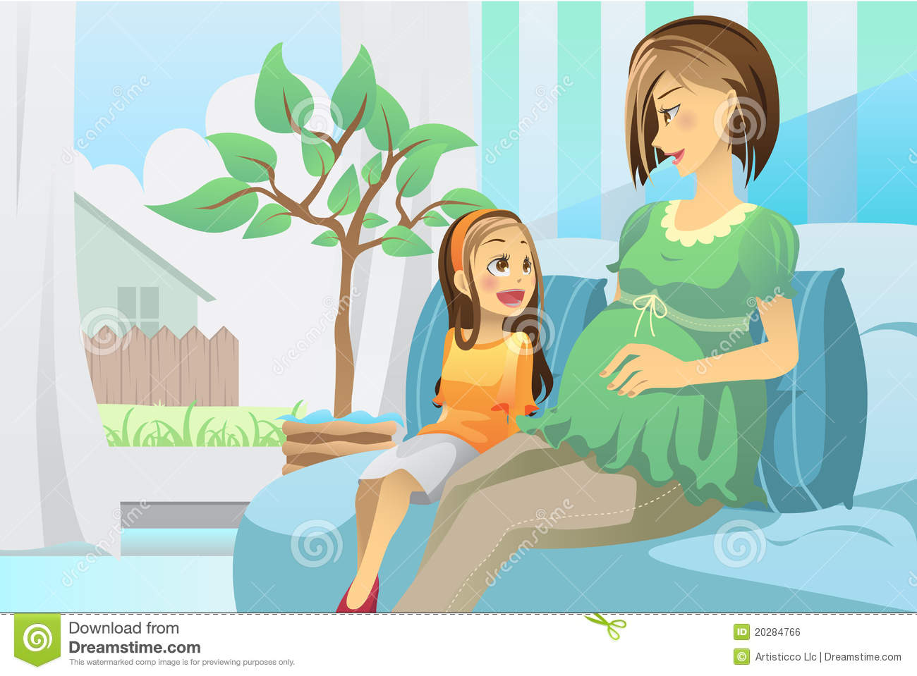 Pregnant Mother With Her Daughter Royalty Free Stock Image ...