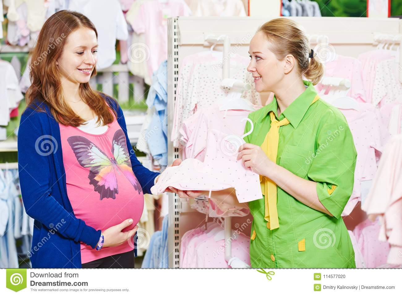 Pregnant Shopping Young Woman Shopping During Pregnancy Stock Photo Image Of Garments Choosing 114577020