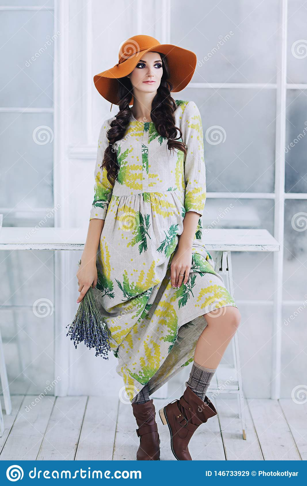 pretty nice sale catch Pregnant Stylish Beautiful European Woman With Lavender Bouquet In ...