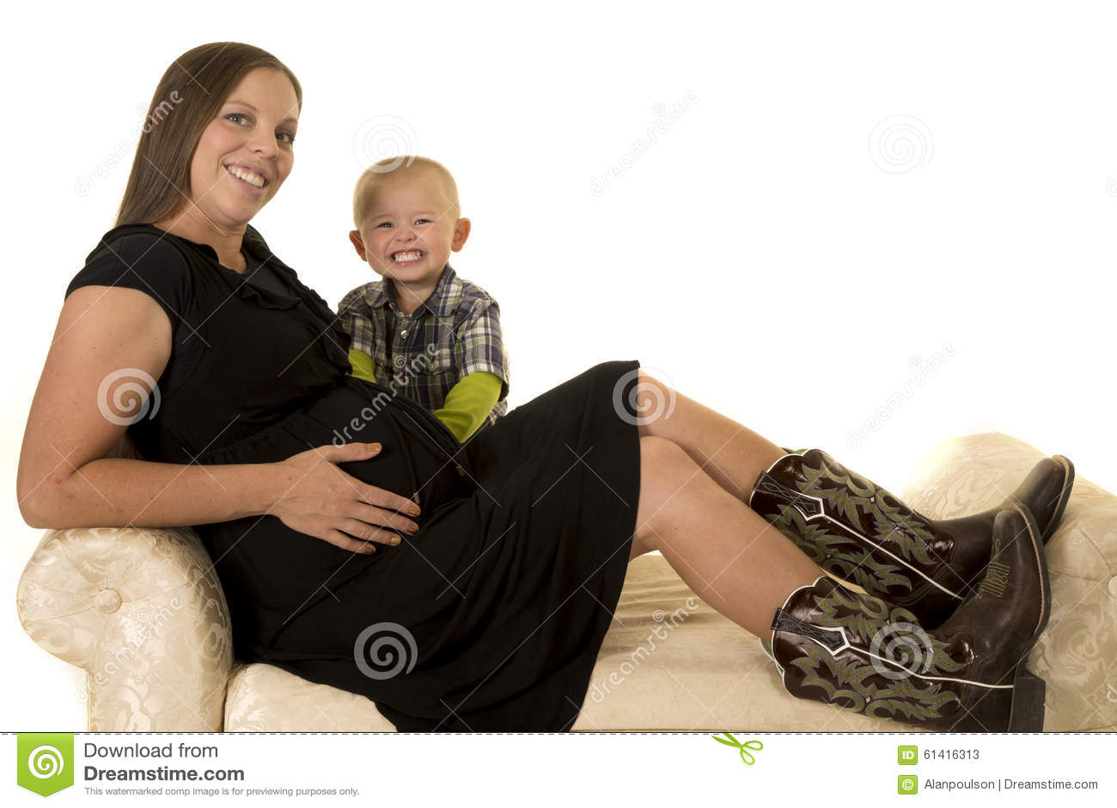 Small boy and big women