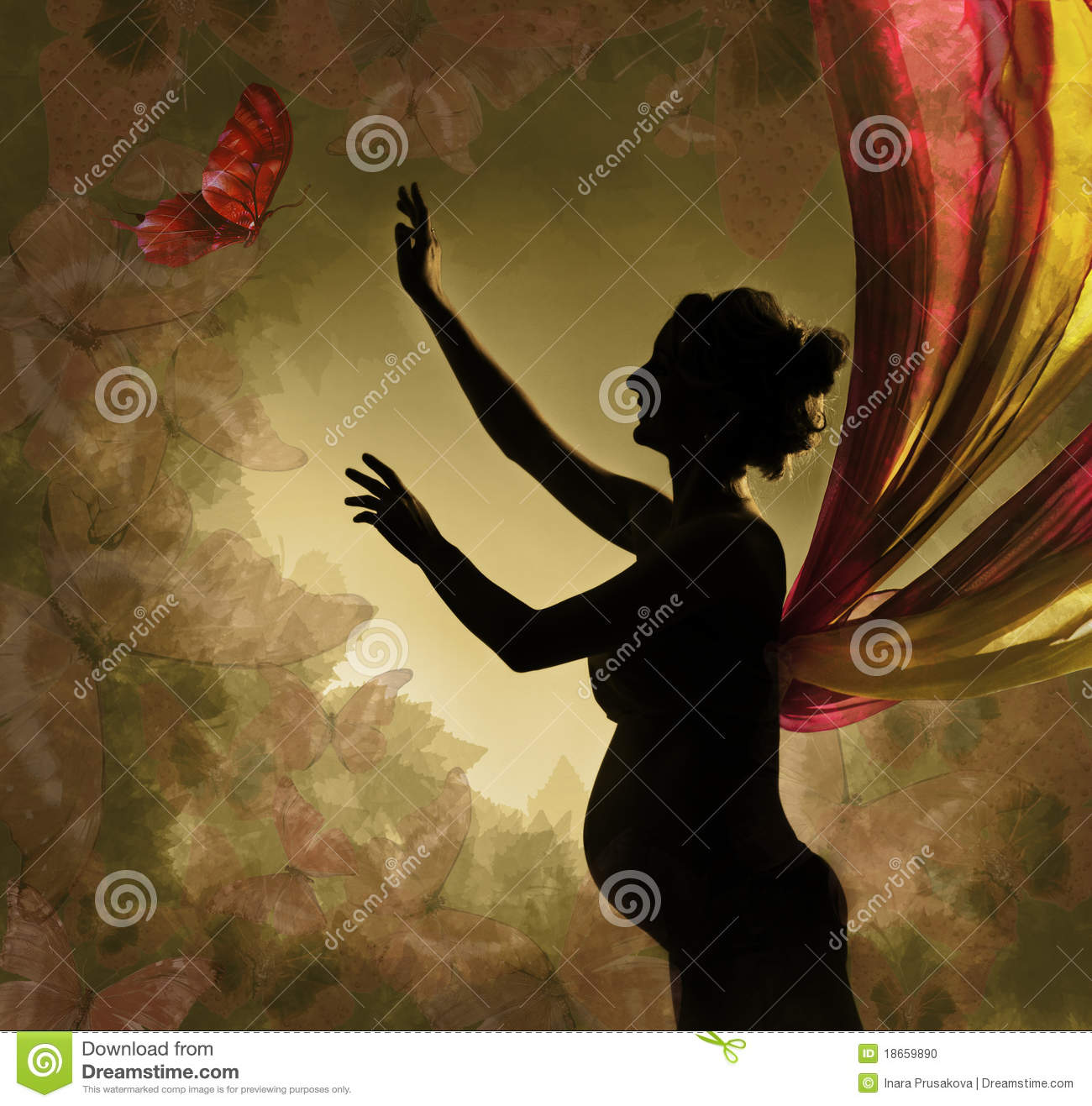 Pregnant woman catching butterfly.