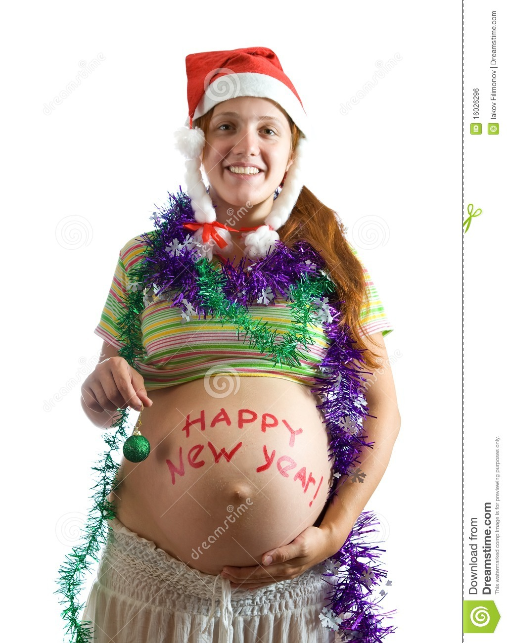 Pregnant Woman In Christmas Attire Royalty Free Stock Image ...