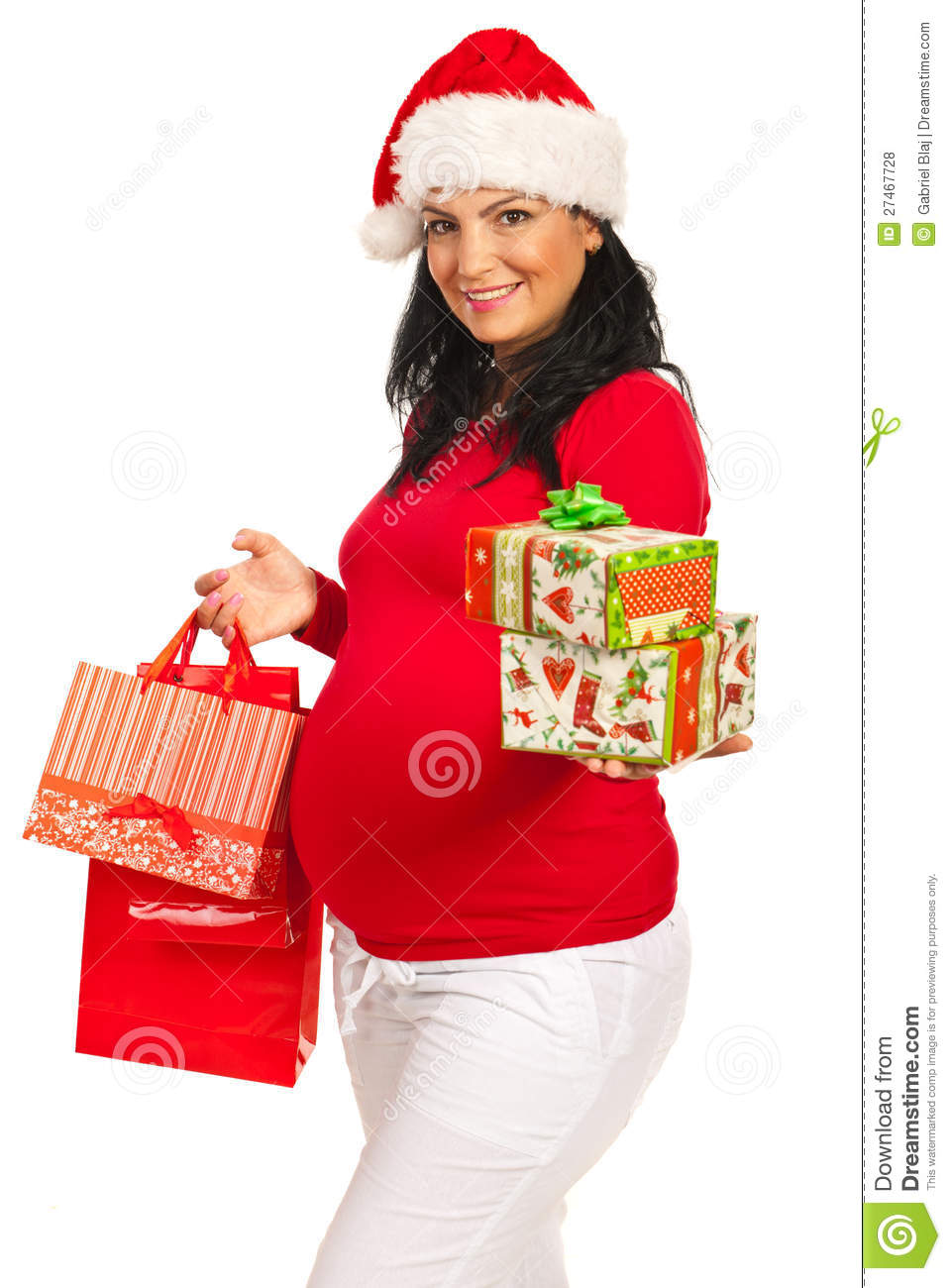Pregnant Woman With Christmas Gifts Stock Photo - Image of ...