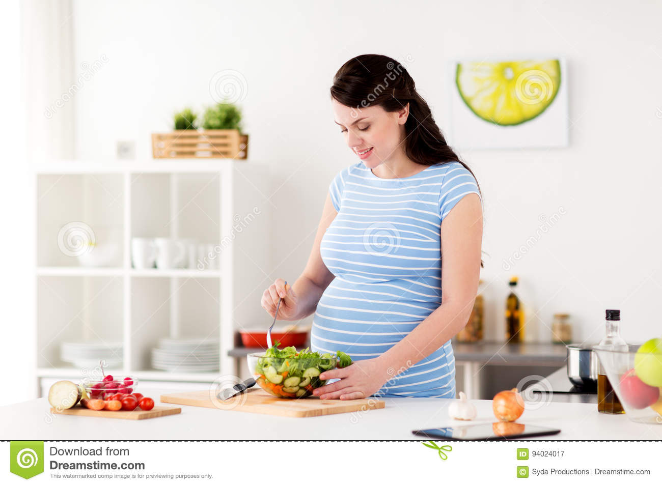 Pregnant Woman Cooking Vegetable Salad At Home Stock Image ...