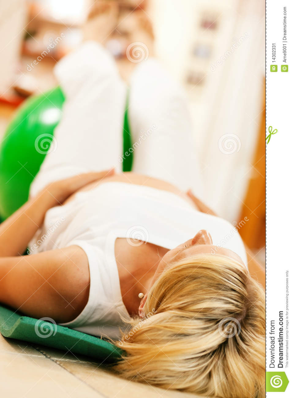 Pregnant Woman Doing Pregnancy Gymnastics Stock Image ...