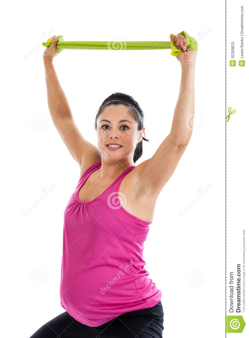 Pregnant Woman Exercising With Resistance Band Stock Image ...