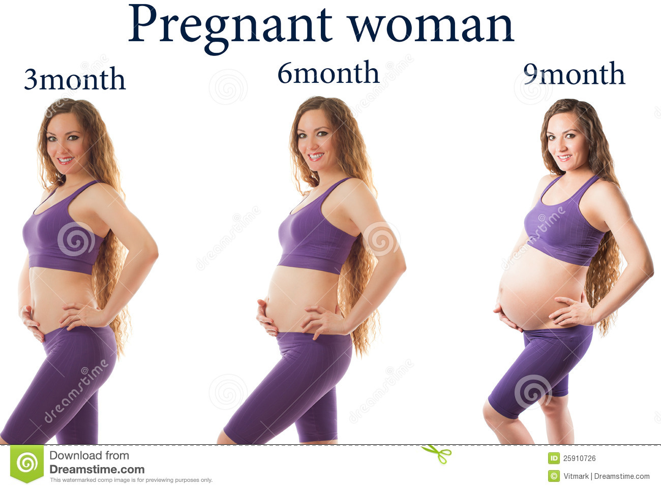 6d550fece4 Pregnant woman fitness at different stages of pregnancy on white  background. The concept of Sport and Health