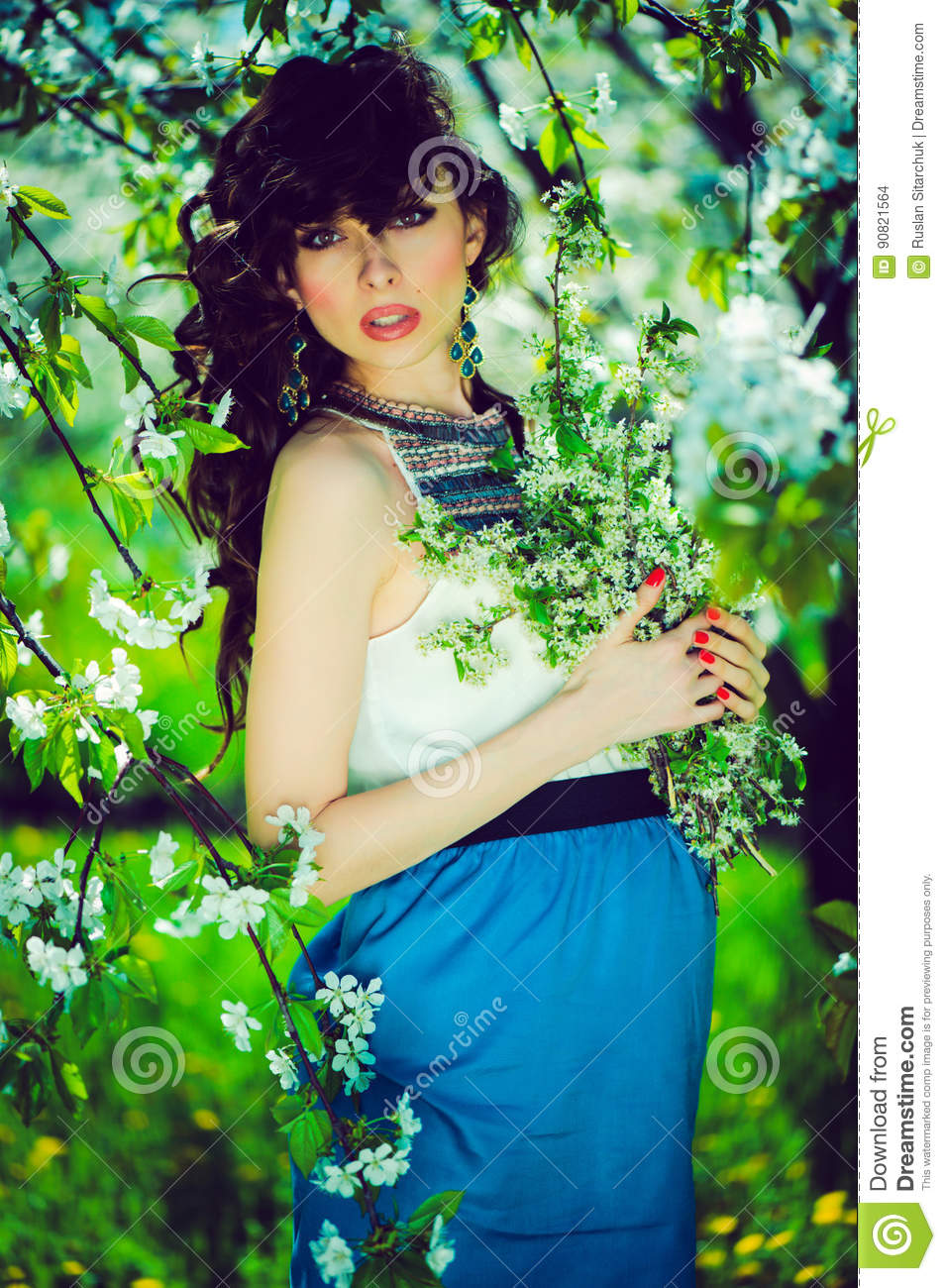Pregnant Woman In The Garden Stock Photo Image Of Flora Blooming