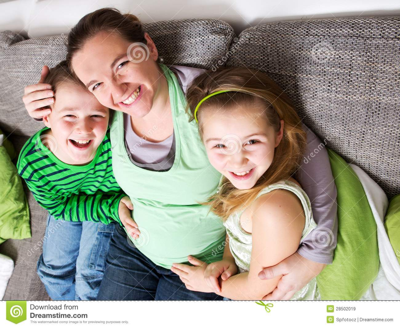 Pregnant Woman With Her Children Stock Image Image Of