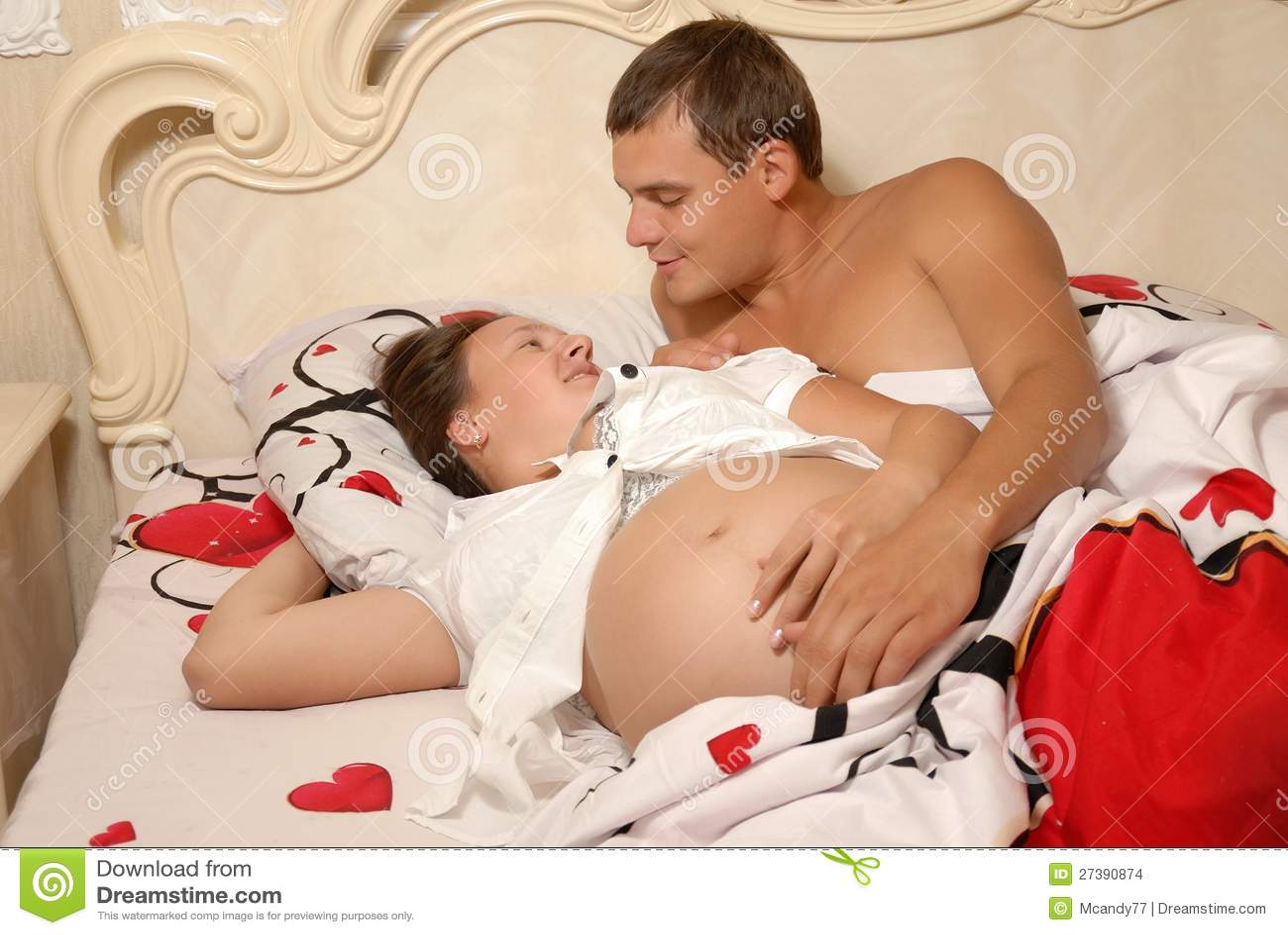 Women with women in love in bed