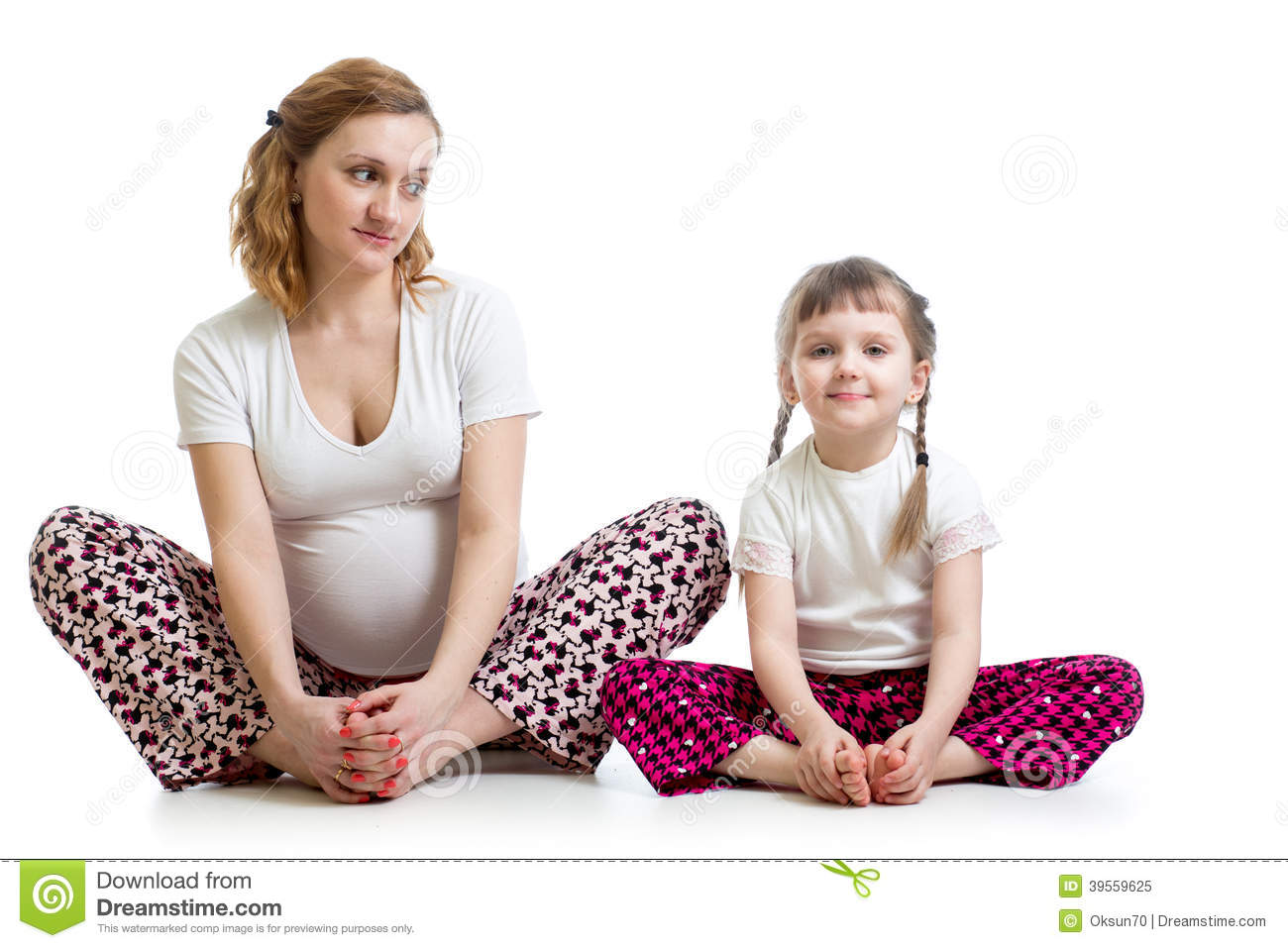 Pregnant Woman With Kid Doing Yoga Exercises Stock Photo ...