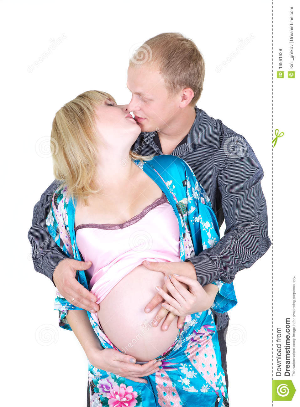 Pregnant wife with husband stock photo. Image of female ... |Husband Kissing Pregnant Woman