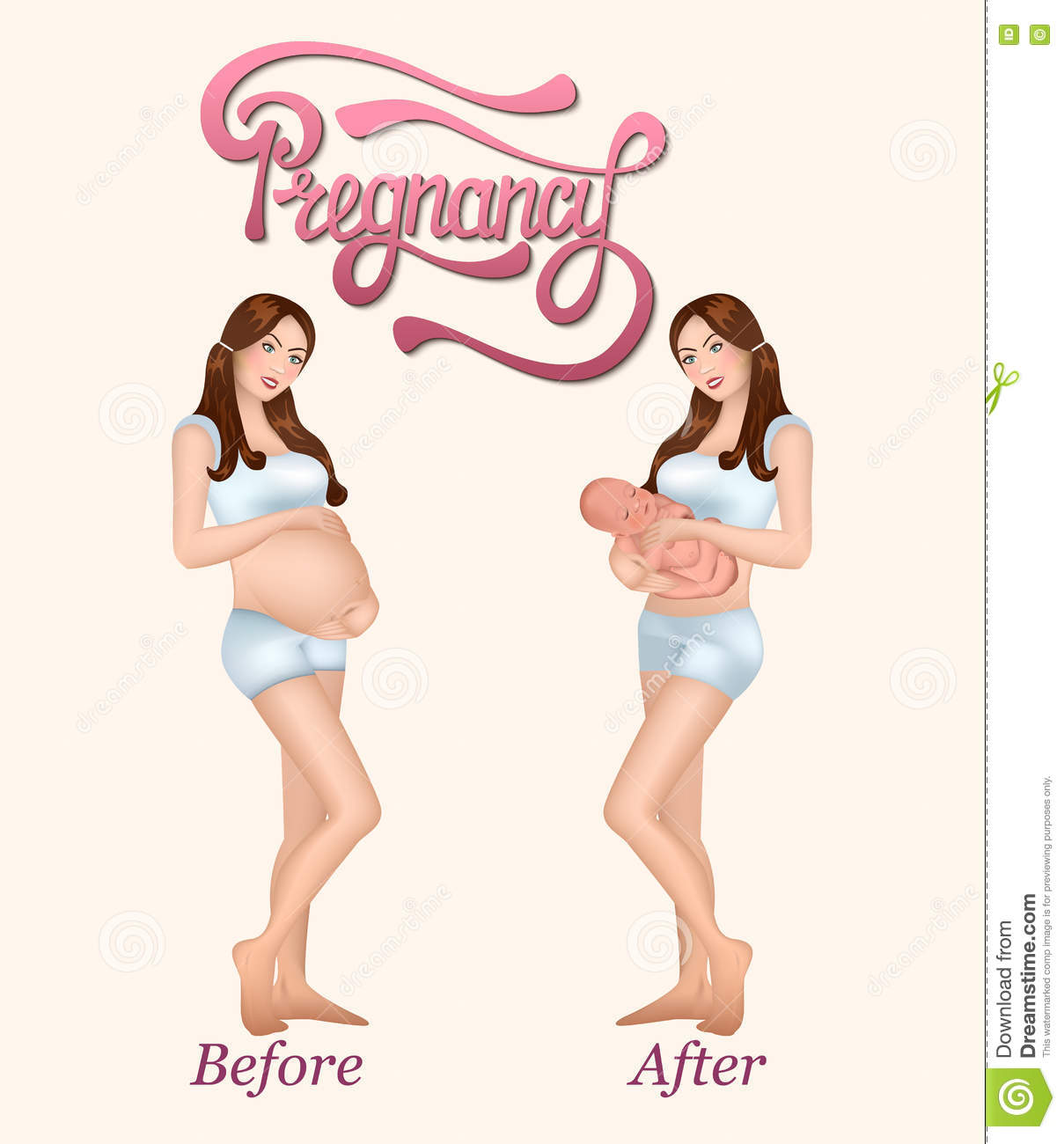 Illustration Of Pregnant Woman And Her Fetus Cartoon ...