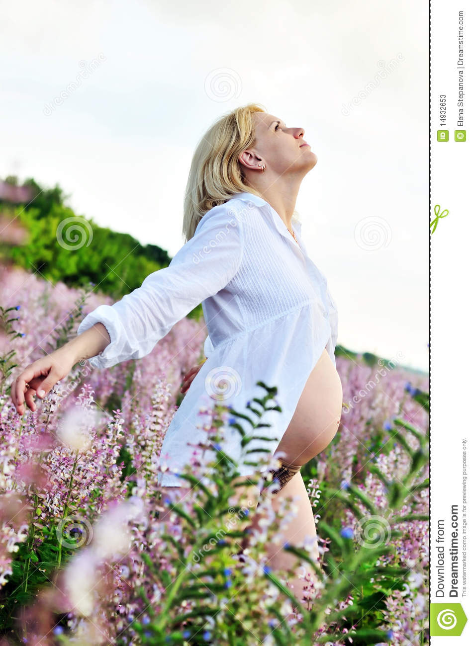 Pregnant woman at one with nature stock photos image for Fish dream meaning pregnancy