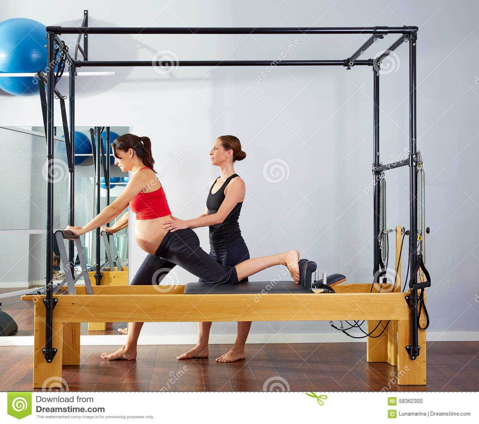 Woman Pilates Chair Exercises Fitness Stock Photo: Pregnant Woman Pilates Reformer Cadillac Exercise Stock