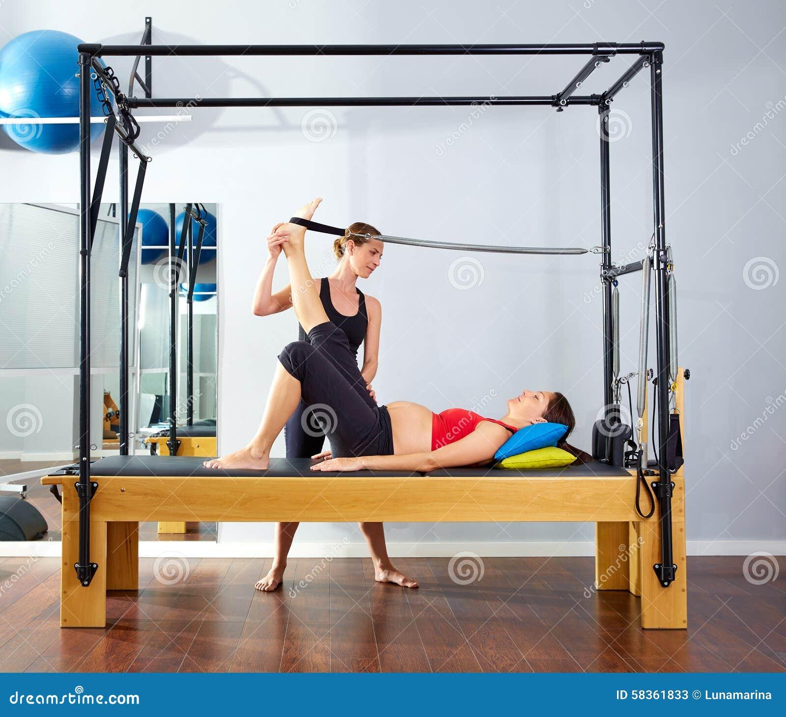 Woman Pilates Chair Exercises Fitness Stock Photo: Pregnant Woman Pilates Reformer Leg Spring Stock Photo