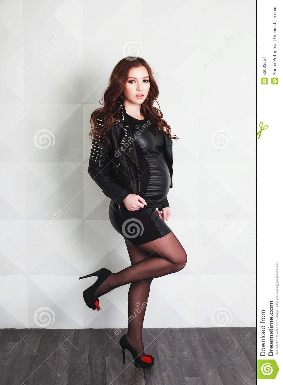 Pregnant Woman In Rock Style Stock Photo - Image: 63083657