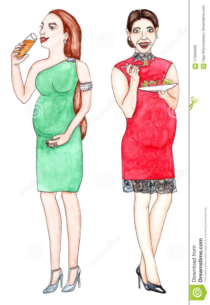 Pregnant Women In Cocktail Dresses With Drinks And Food On White ...