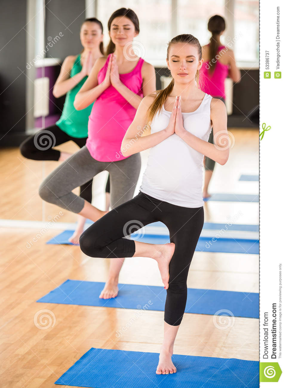 Pregnant Women At Gym. Stock Photo