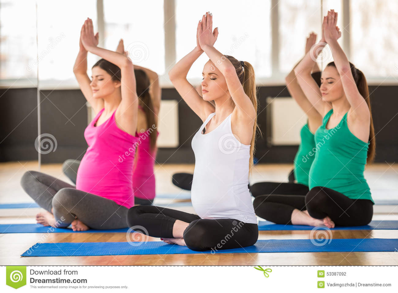 Pregnant women at gym. stock photo. Image of beautiful ...