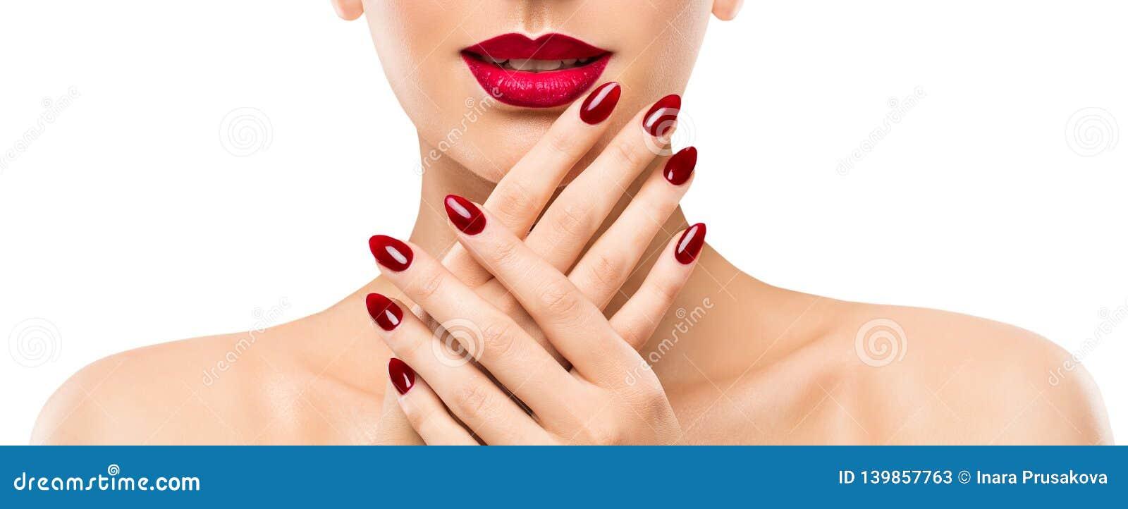 Pregos dos bordos da beleza da mulher, modelo bonito Face Lipstick Makeup, polonês vermelho do tratamento de mãos