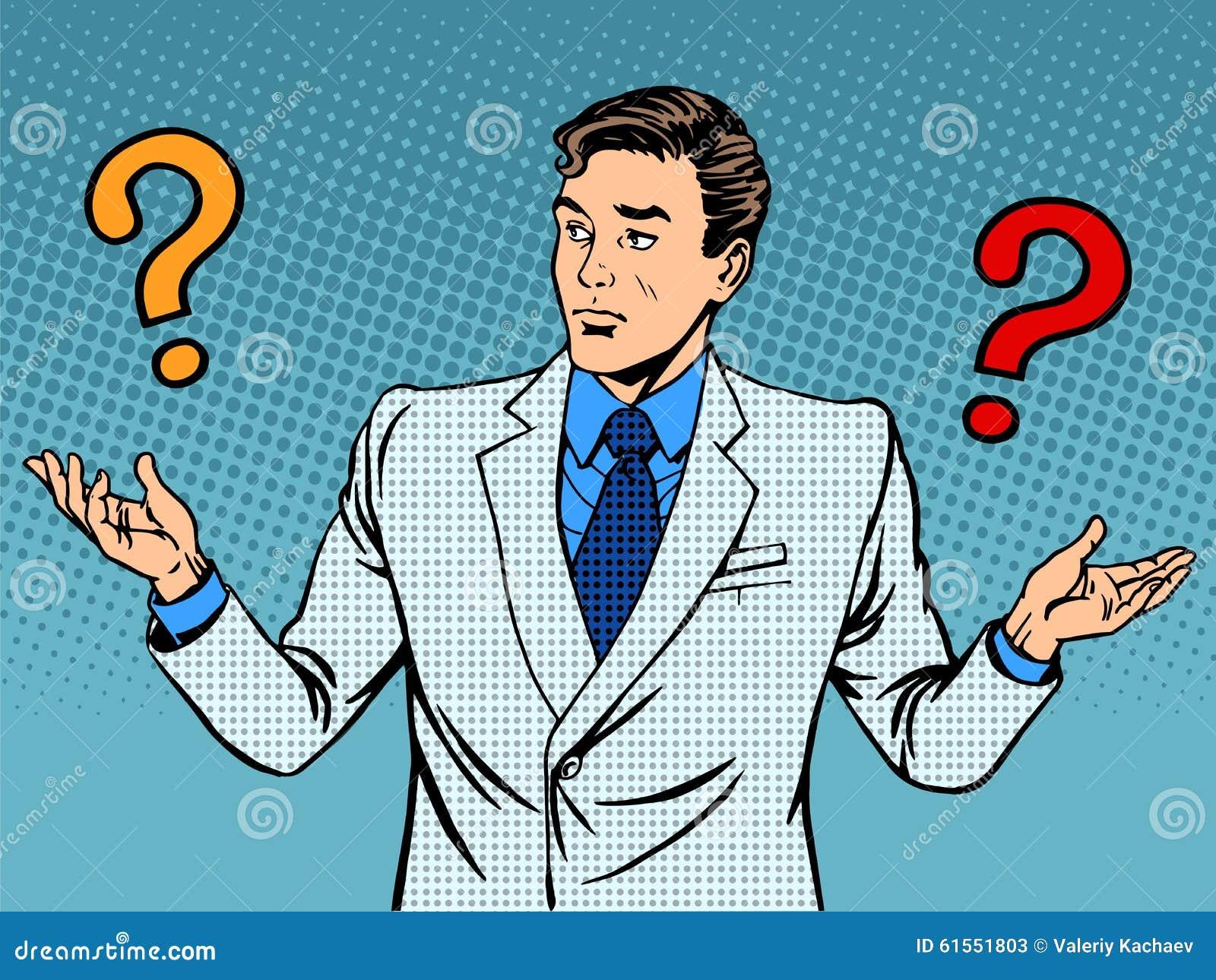Pregunta el malentendido del hombre de negocios