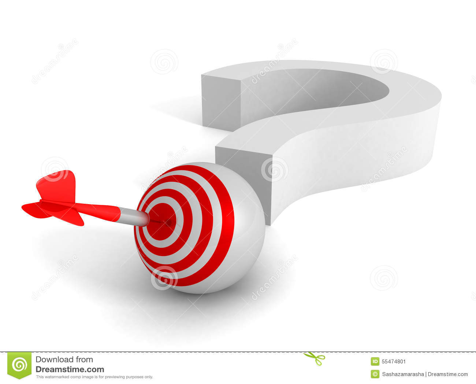 Pregunta Mark And Target Dart Arrow Concepto de la solución del éxito