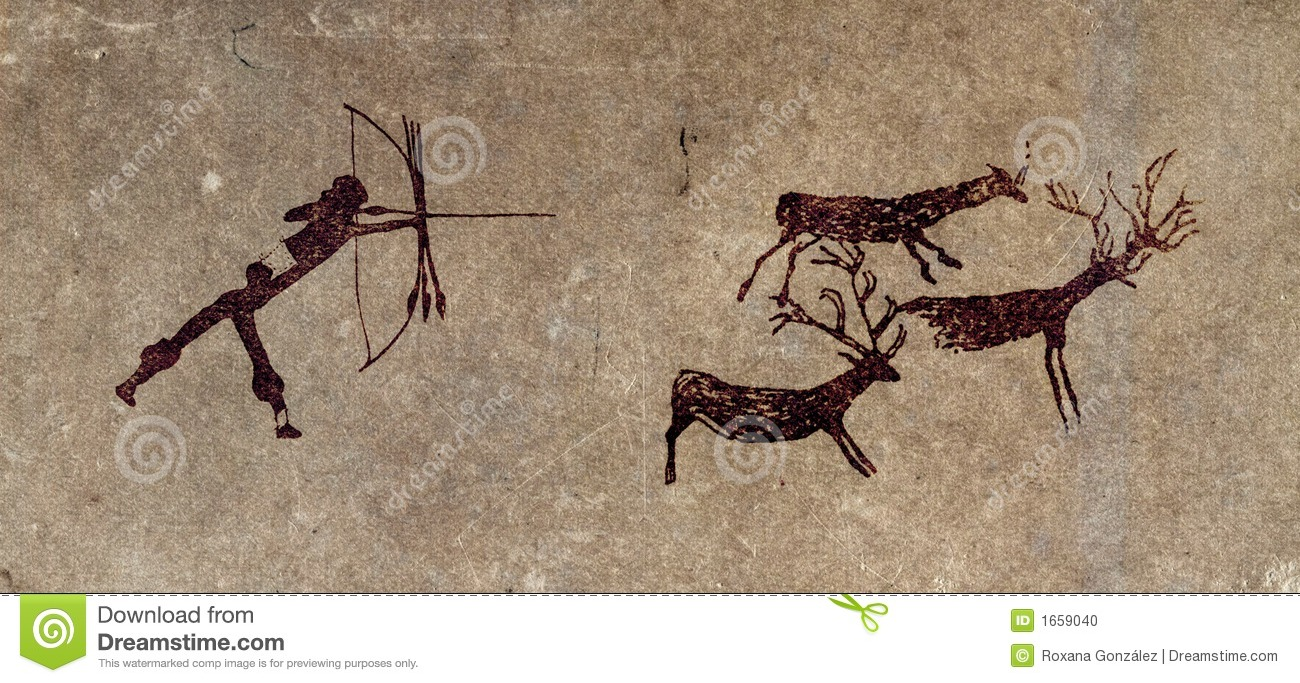 prehistoric hunter cave painting reproduction stock primitive clipart black and white primitive clipart graphics