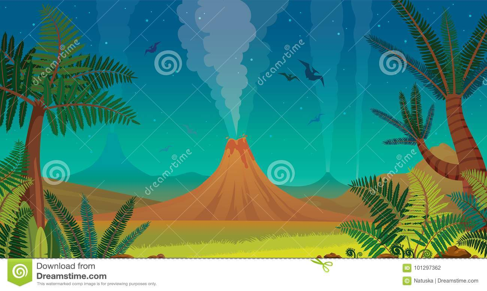 Prehistoric Nature Volcano Pterodactyl Fern Night Sky Prehistoric Landscape Active Volcanoes Green Ferns Silhouette