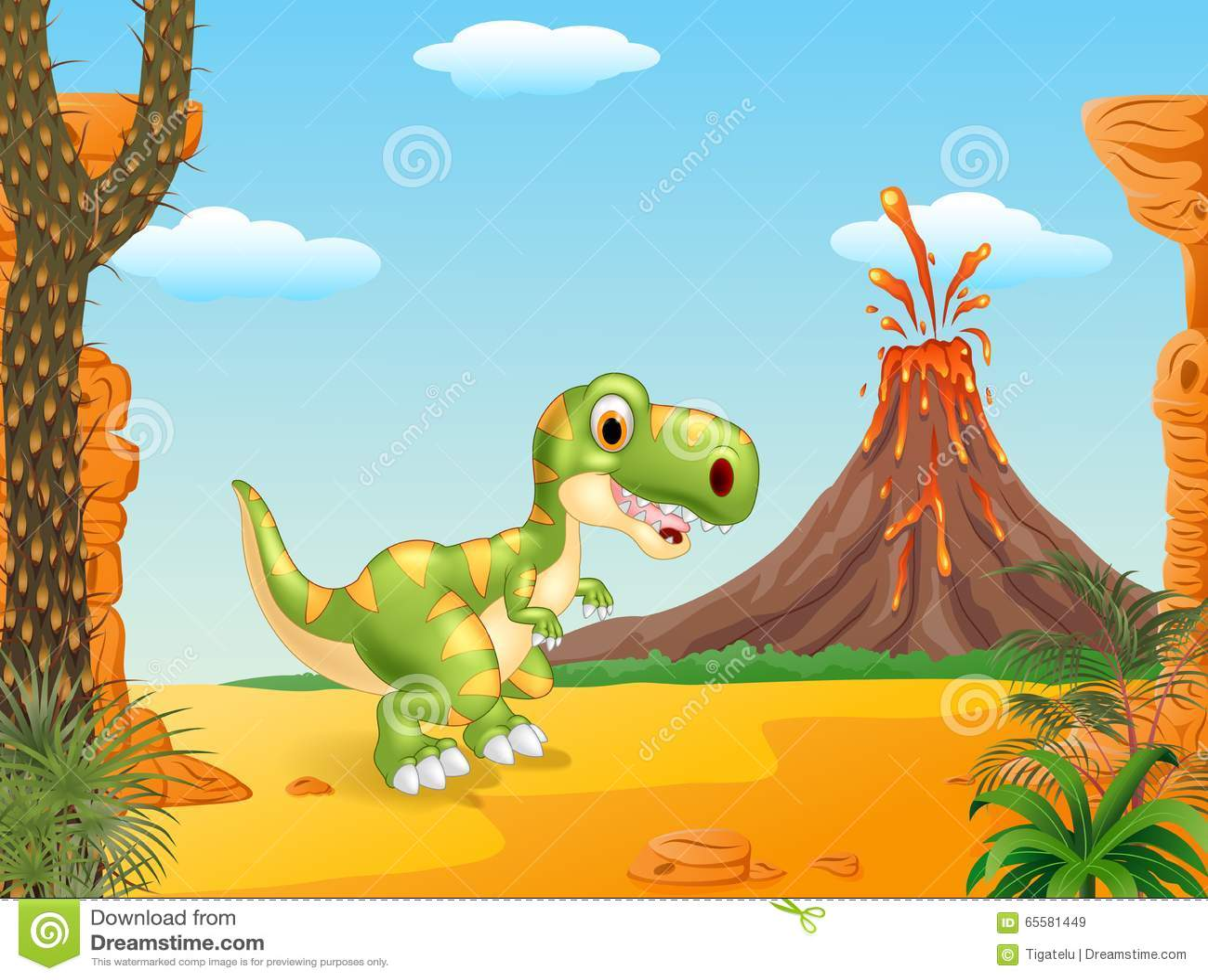 Prehistoric Scene With Happy Tyrannosaurus Dinosaur Mascot Stock Vector Illustration Of Jurassic History 65581449