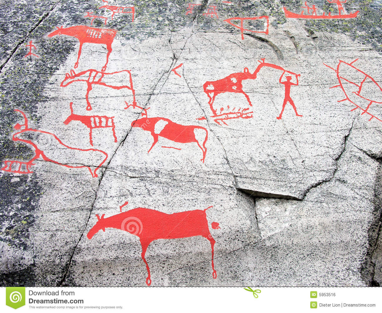 Prehistoric stone carving royalty free stock image