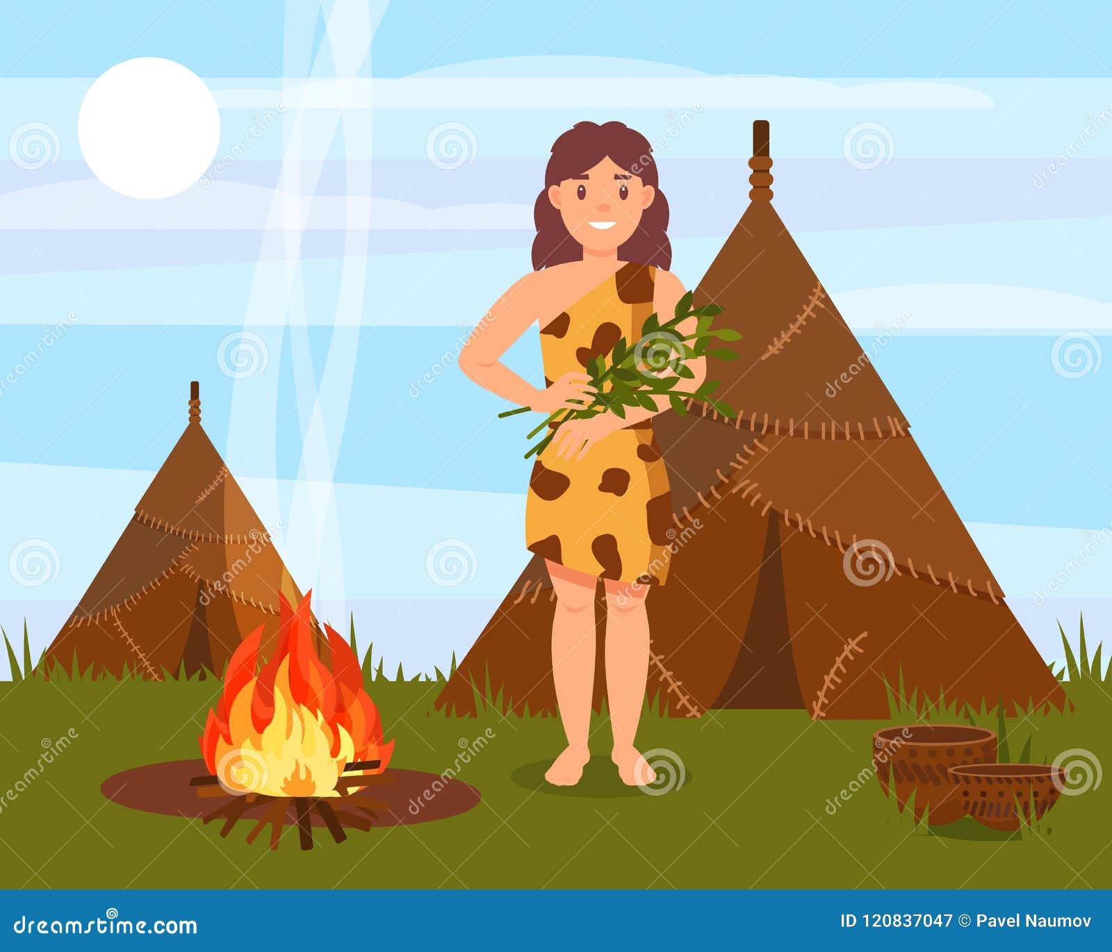 Prehistoryczna cavewoman charakteru pozycja obok domu robić zwierzęce skóry, era kamienia łupanego naturalny krajobrazowy wektor
