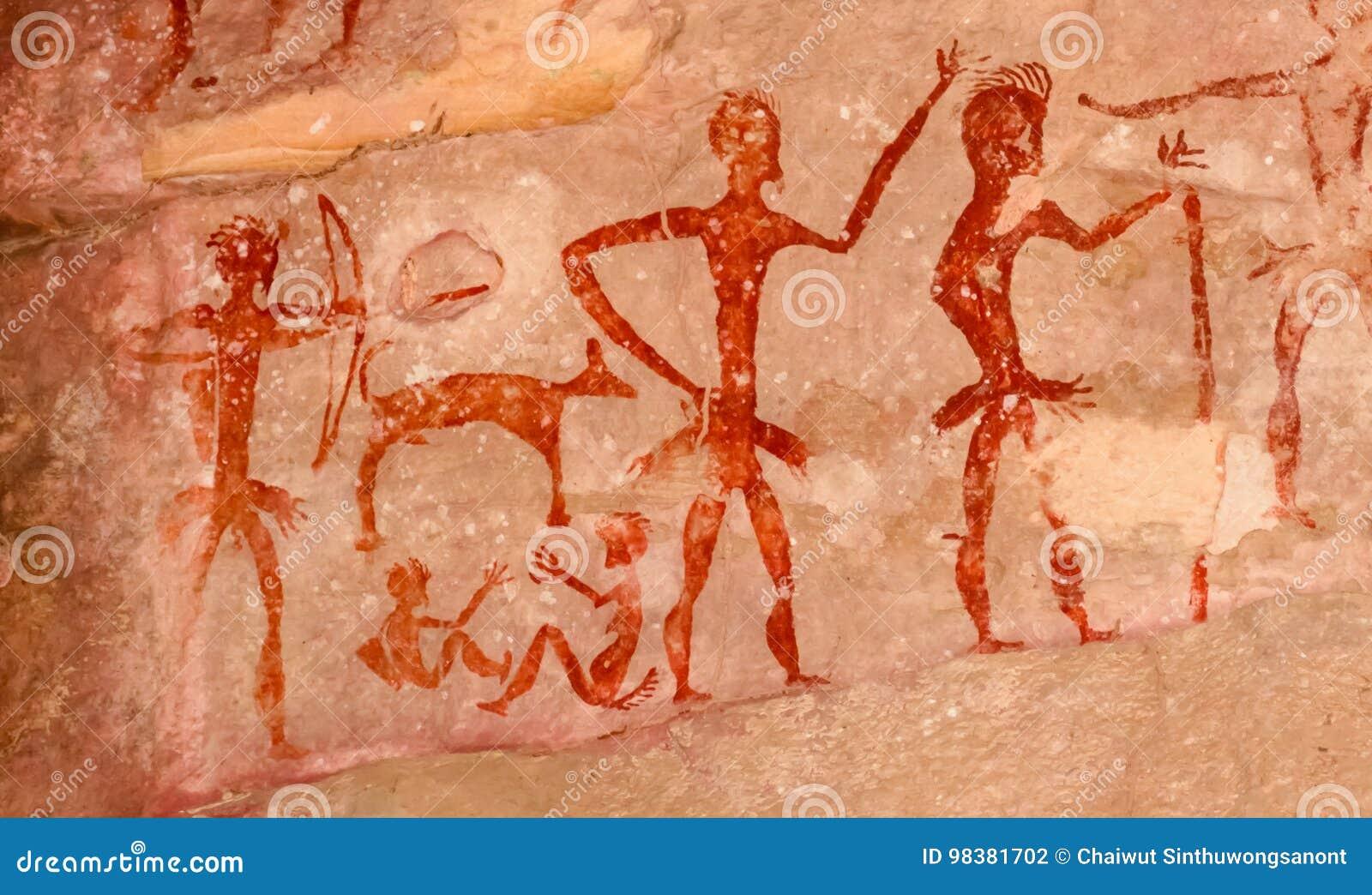 Prehistoryczni jama obrazy nad 4000 rok Khao Chan Ngam, Nakho