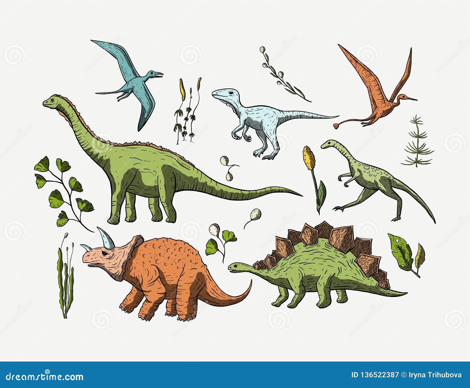 Prehistoryczny wektorowy Dino ikony set