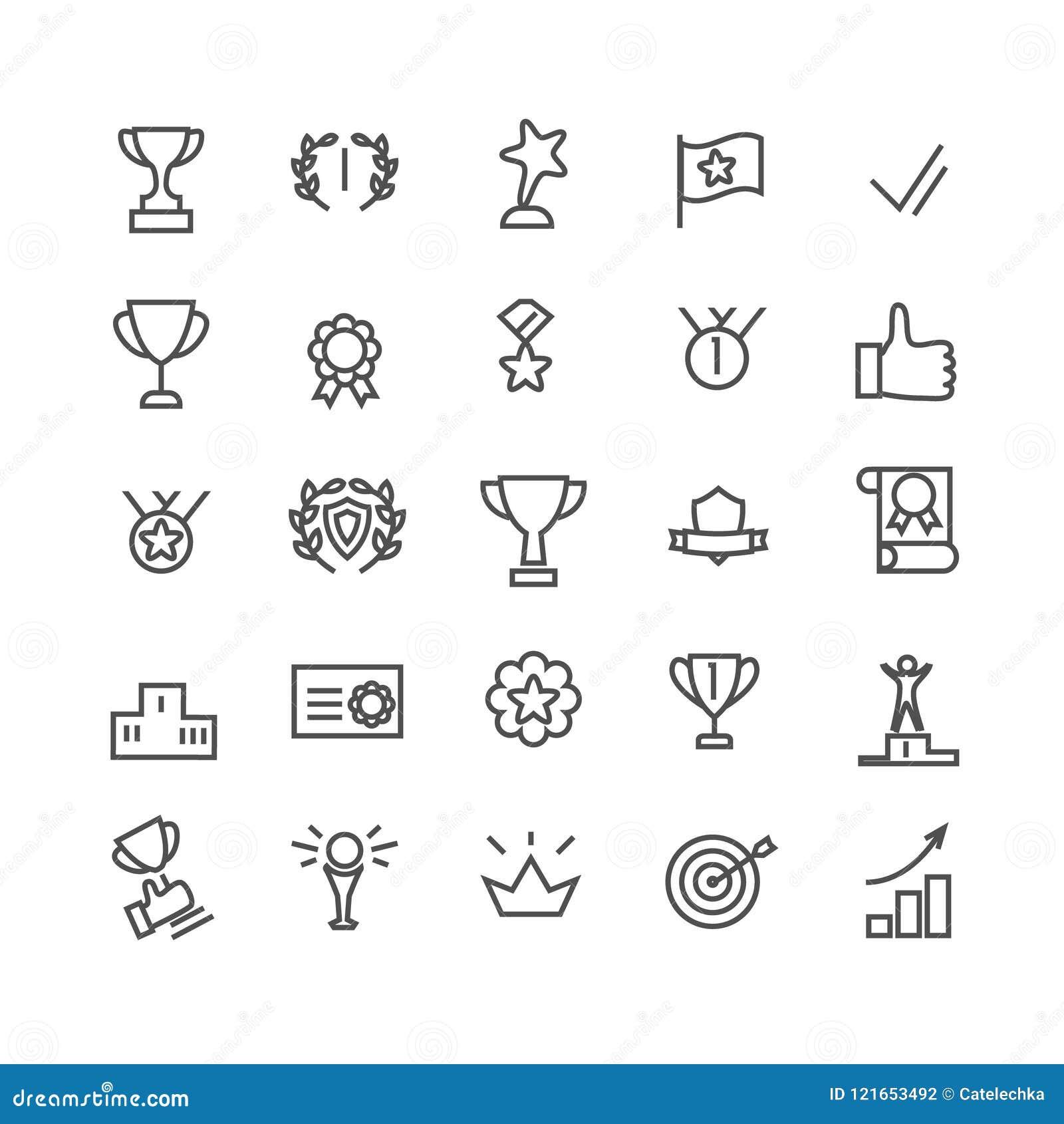 Preisikonensatz Linie Kunst Schließt solche Ikonen wie Trophäenschale, Ziel, Erfolg, Daumen oben ein Editable Pixel des Anschlags