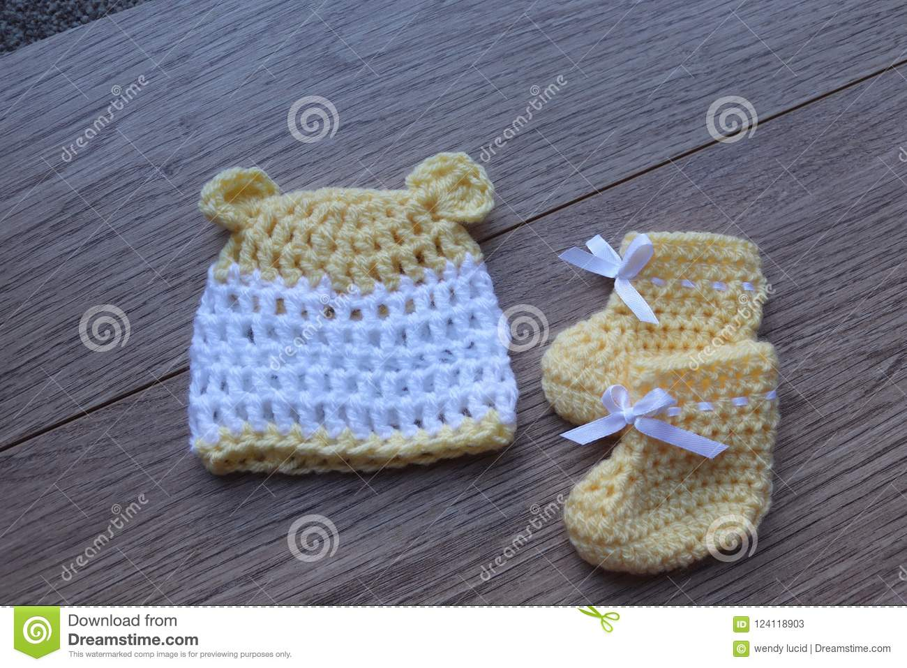 Premature Baby Items For Comfort And Warmth. Hat And Booties Stock ...