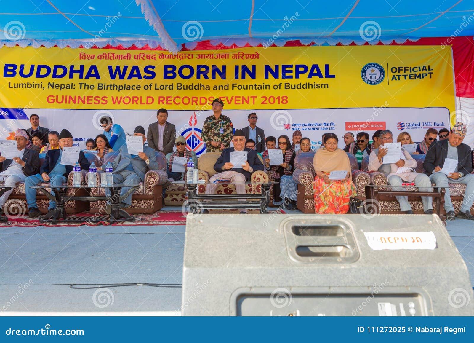 Premiärminister Mr för Nepal ` s KP Sharma Oli Taking Part på den Guinness världsrekordhändelsen 2018