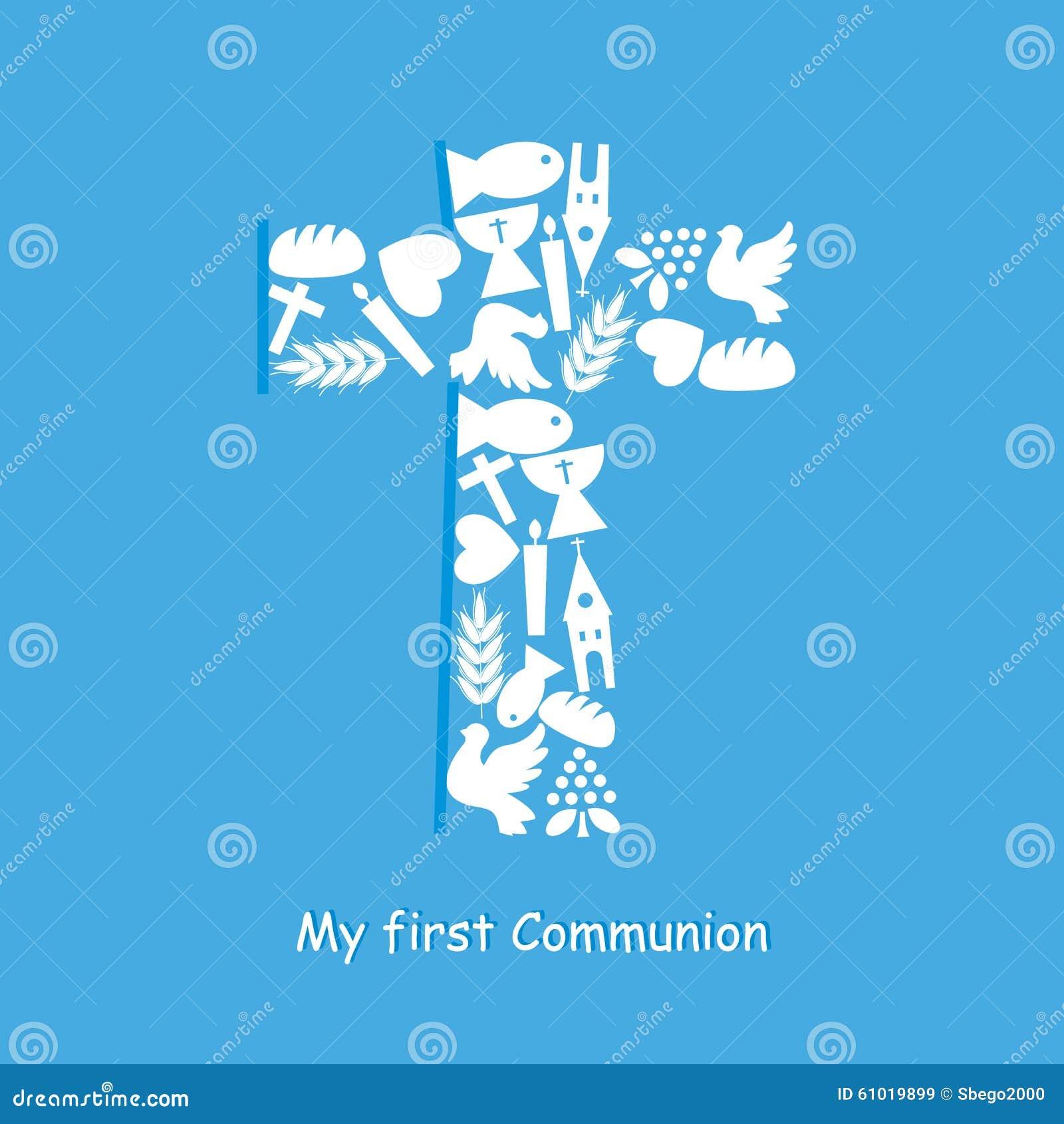 Premiere Carte D Invitation De Communion Illustration De Vecteur