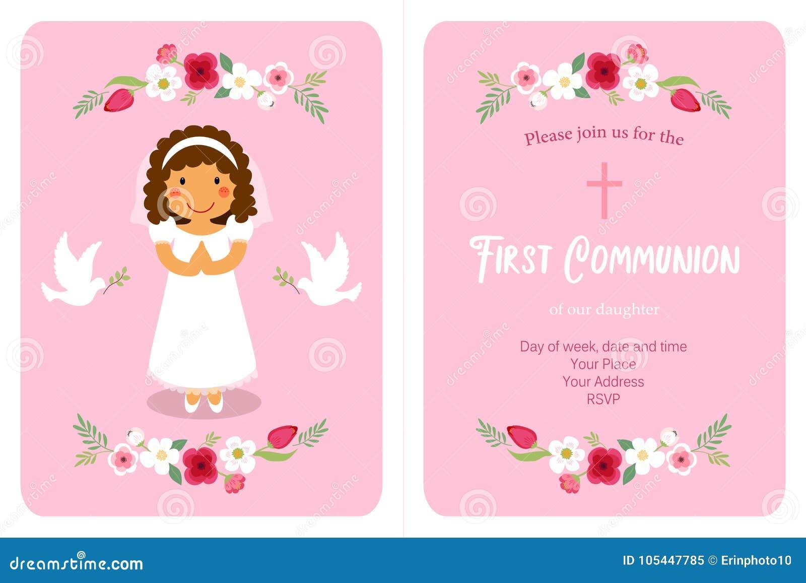 Première carte mignonne de communion pour des filles