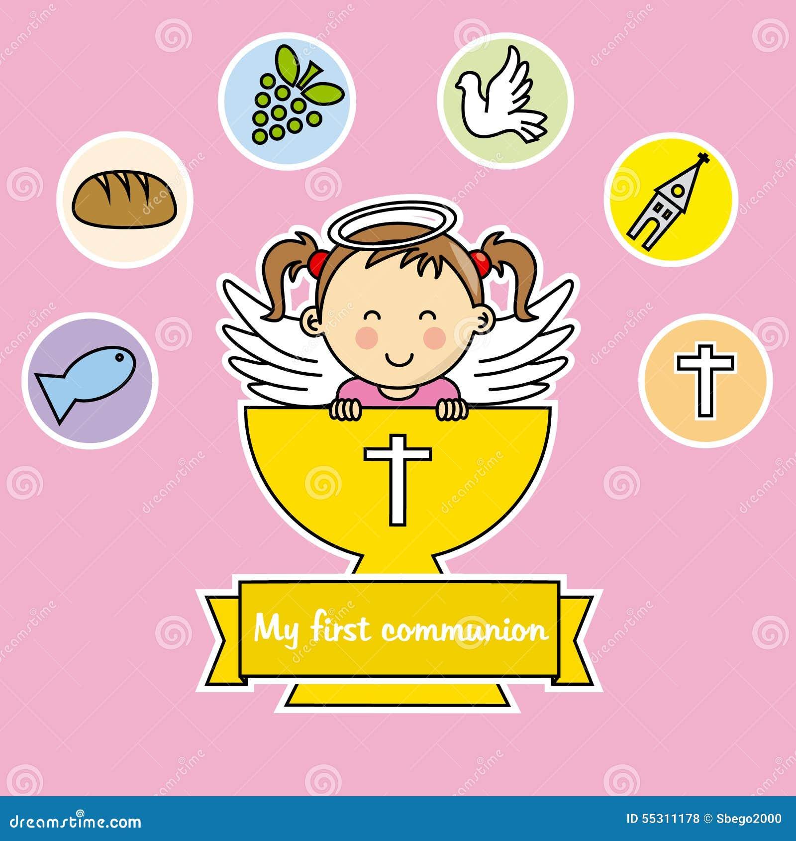 Première Fille De Communion Illustration De Vecteur