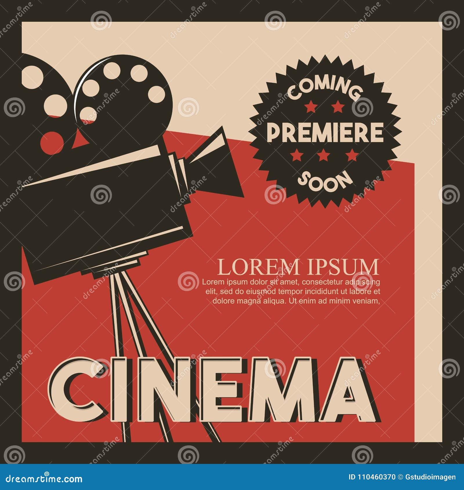 Premier de película retra de la cámara del estilo del cartel del cine
