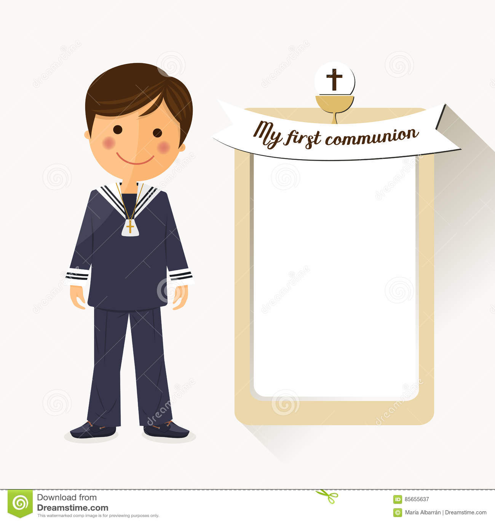 Premier enfant de communion sur le fond carré avec le message