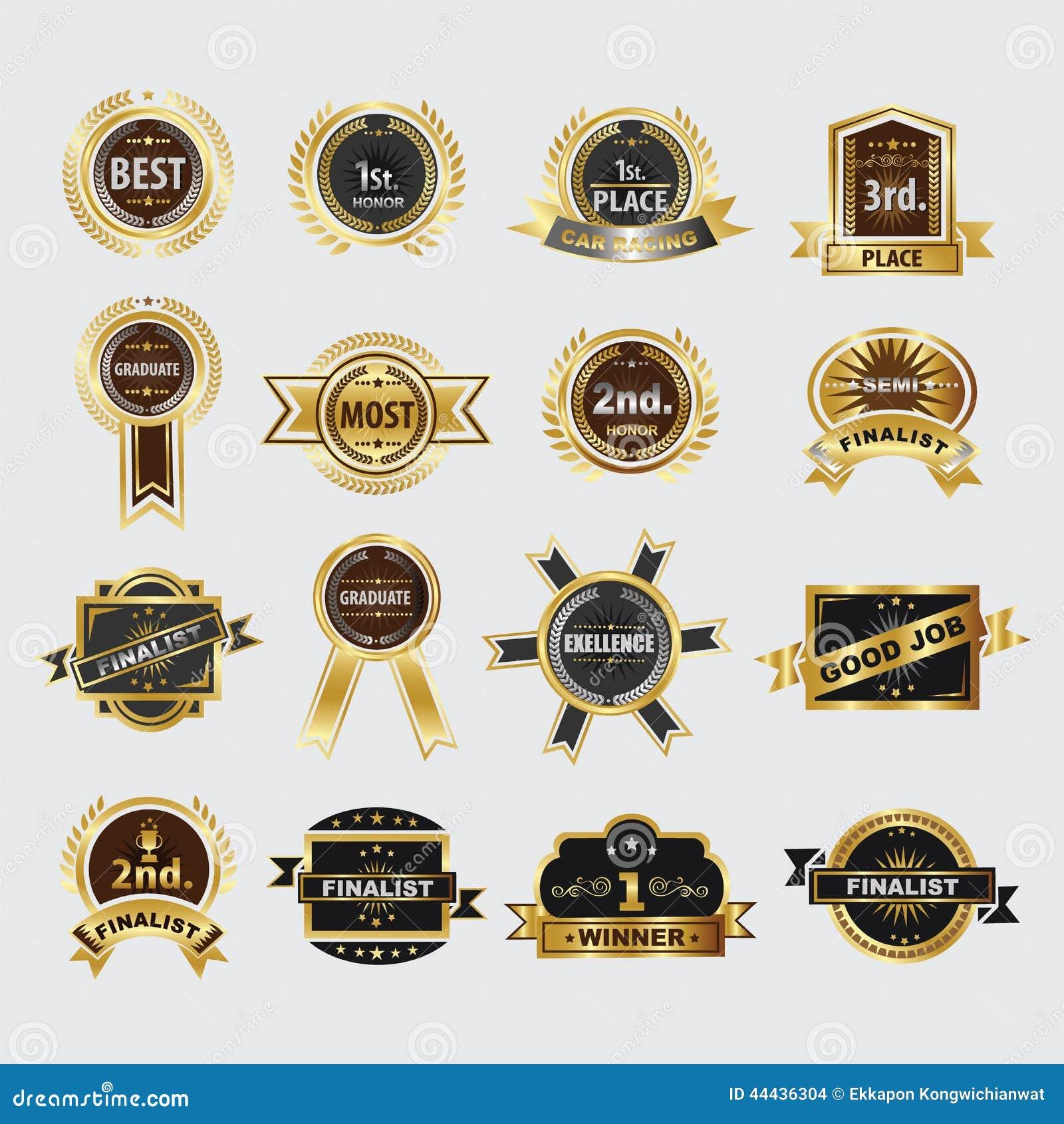 Premii ilości wianku złote laurowe ikony ustawiać