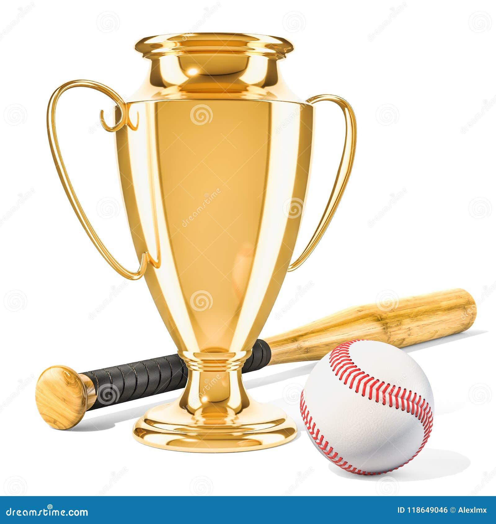 Premio De La Taza Del Trofeo Del Oro Con La Bola Y El Palo 1fe21d9546709