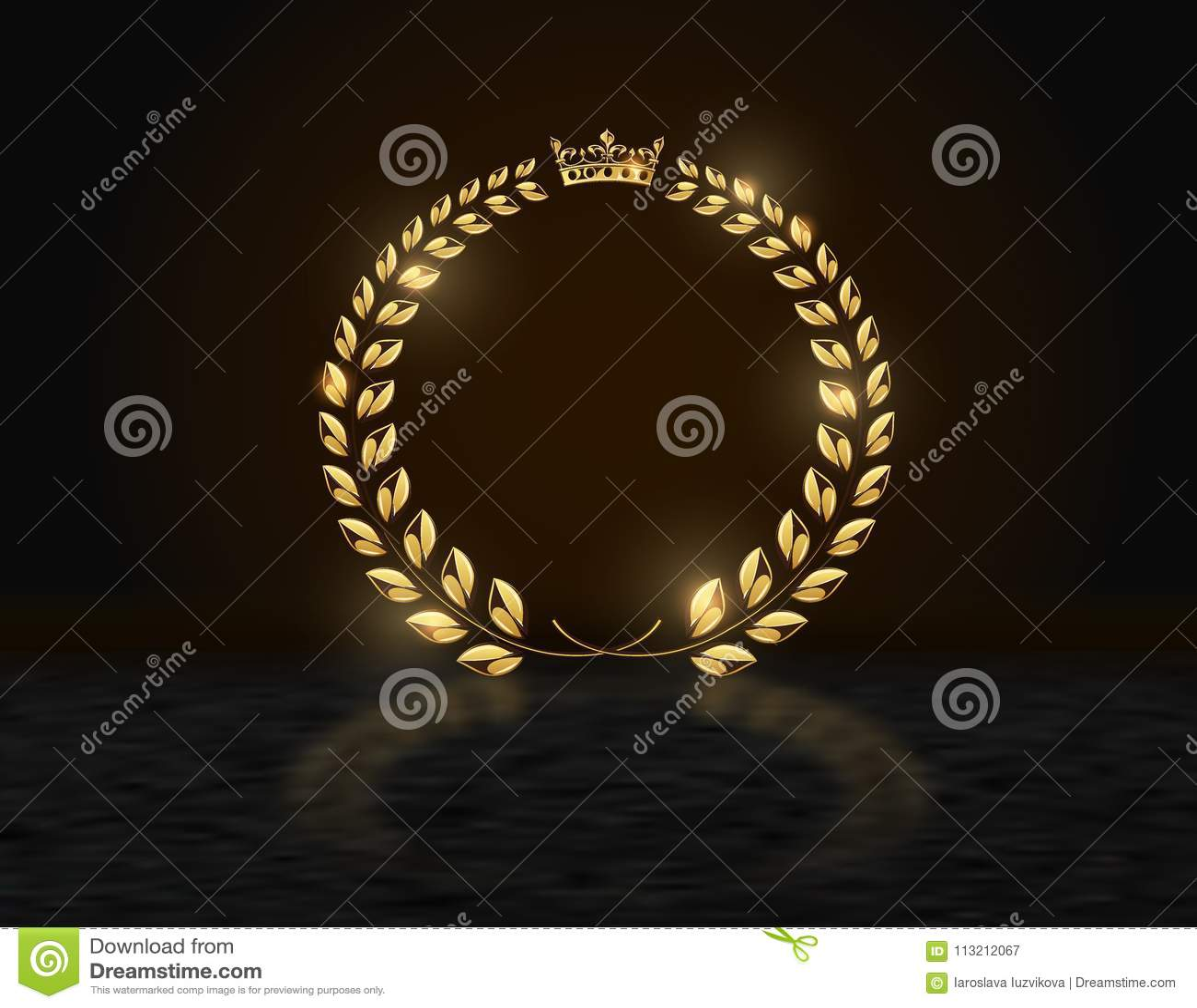 Premio De Oro Redondo Detallado De La Corona De La Guirnalda Del ...