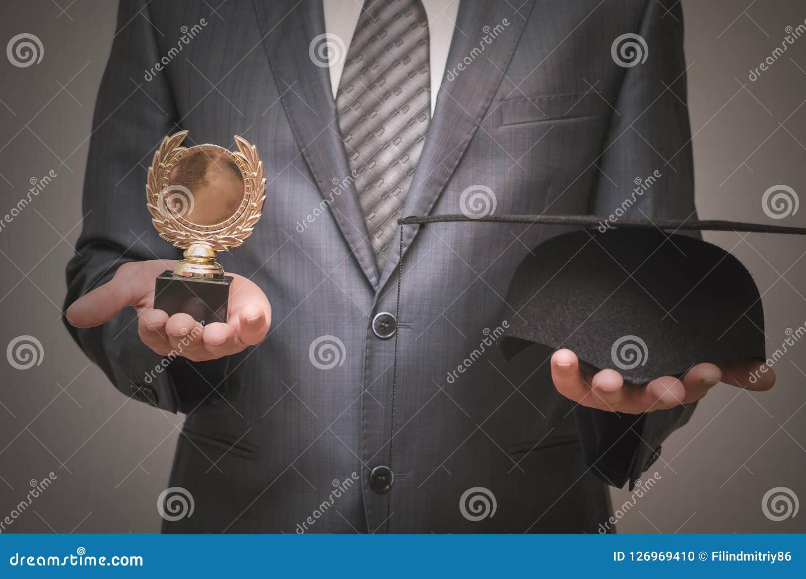Premio dello studente di graduazione della medaglia d'oro Fotografia Stock